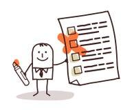 Hombre y lista de comprobación stock de ilustración
