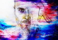 Hombre y manos místicos Dibujo de lápiz en el papel viejo Efecto del color Foto de archivo libre de regalías