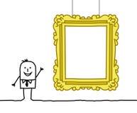 Hombre y marco en blanco del museo Imagen de archivo
