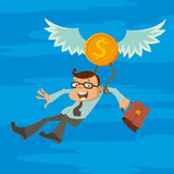 Hombre y moneda coa alas stock de ilustración
