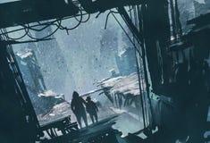 Hombre y muchacho que se colocan que miran hacia fuera la ciudad arruinada con la tormenta de la nieve Foto de archivo