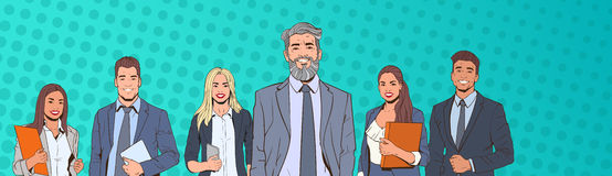 Hombre y mujer acertados de negocios sobre el equipo de los empresarios de Art Colorful Retro Style Background del estallido Fotografía de archivo libre de regalías