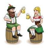 Hombre y mujer bávaros de la historieta con la cerveza, la salchicha y el pretzel Ejemplo de Oktoberfest, EPS 10, fondo blanco Imágenes de archivo libres de regalías