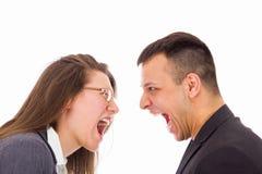Hombre y mujer con problemas del amor que gritan en uno a fotos de archivo libres de regalías