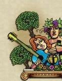hombre y mujer de la vendimia en paraíso Libre Illustration