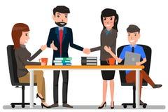 Hombre y mujer de negocios dos que sacuden las manos con el colega, negocio libre illustration