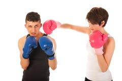 Hombre y mujer del boxeo Fotografía de archivo