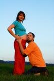 Hombre y mujer embarazada Imágenes de archivo libres de regalías