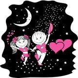 Hombre y mujer en amor que caminan en la noche en el camino estelar Imágenes de archivo libres de regalías