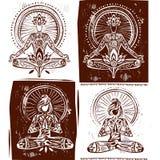 Hombre y mujer en la meditación Actitud de la yoga de Lotus Foto de archivo libre de regalías