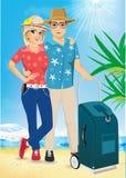Hombre y mujer en la playa Verano Mar Vacaciones Imagen de archivo libre de regalías