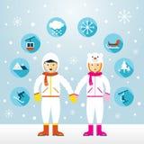 Hombre y mujer en mono de nieve con los iconos fijados stock de ilustración