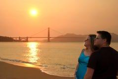 Hombre y mujer en San Francisco Imágenes de archivo libres de regalías