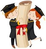 Hombre y mujer en vestido de la graduación ilustración del vector