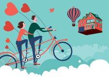 Hombre y mujer en viaje de la bici del cielo Fotos de archivo libres de regalías