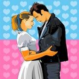 Hombre y mujer junto ilustración del vector