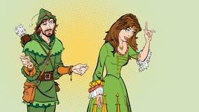 Hombre y mujer Princesa que enseña a Robin Hood Princesa de enseñanza Señora en alineada medieval Leyenda medieval Mujer medieval ilustración del vector