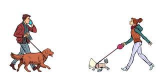 Hombre y mujer que caminan con los perros stock de ilustración