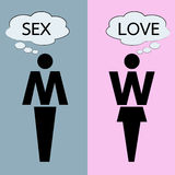 Hombre y mujer que piensan en amor y sexo Fotografía de archivo libre de regalías