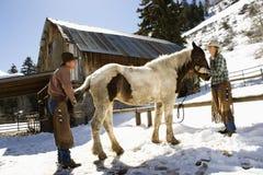 Hombre y mujer que preparan un caballo Foto de archivo
