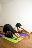 Hombre y mujer que realizan el ejercicio de la yoga - vertical Foto de archivo