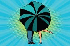 Hombre y mujer que se besan detrás del paraguas libre illustration