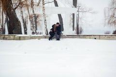 Hombre y mujer que se besan en parque nevoso Fotografía de archivo