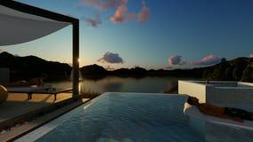 Hombre y mujer que tienen actividades de relajaci?n por la piscina, 4K libre illustration