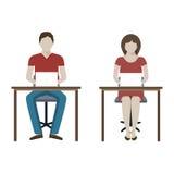 Hombre y mujer que trabajan con la computadora portátil Imagenes de archivo