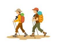 Hombre y mujer, senderismo que viaja de los caminantes de los pares con las mochilas stock de ilustración
