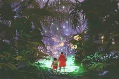 Hombre y niña que miran el pantano verde en bosque ilustración del vector