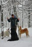 Hombre y perros en la nieve Imágenes de archivo libres de regalías