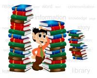Hombre y pilas de libros Fotografía de archivo libre de regalías