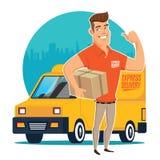 Hombre y pista de entrega foto de archivo libre de regalías