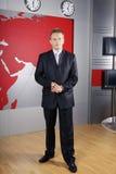 Hombre y reportero de televisión de negocios Fotografía de archivo libre de regalías