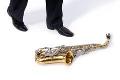 Hombre y saxofón Foto de archivo