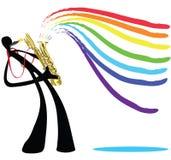 Hombre y saxofón de la sombra Imagen de archivo libre de regalías