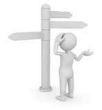 Hombre y señal de direcciones stock de ilustración