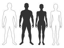Hombre y siluetas y contornos de la mujer stock de ilustración