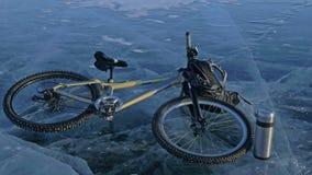 Hombre y su bicicleta en el hielo Él mira el hielo hermoso en las grietas opinión de la Primero-persona Visten al ciclista en a Imagen de archivo libre de regalías
