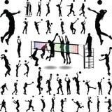 Hombre y womam del voleibol stock de ilustración