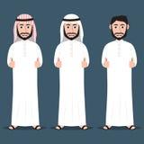 Hombres árabes en el vestido tradicional que da los pulgares para arriba stock de ilustración