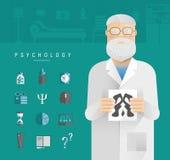 Hombres adultos en un psicólogo blanco de la capa stock de ilustración