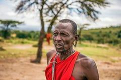 Hombres africanos que presentan en su pueblo de la tribu del Masai, Kenia Imágenes de archivo libres de regalías