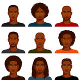 Hombres afroamericanos con el diverso peinado Fotos de archivo libres de regalías