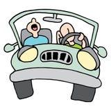 Hombres cansados del long drive stock de ilustración