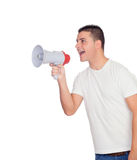 Hombres casuales con un grito del megáfono Imagen de archivo libre de regalías