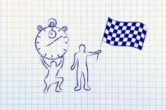 Hombres con el cronómetro de gran tamaño y la bandera chekered Imágenes de archivo libres de regalías