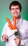 Hombres con el interruptor y la zanahoria foto de archivo