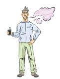 Hombres con la barba vaping Nube del vapor Ejemplo del vector, aislado en el fondo blanco libre illustration